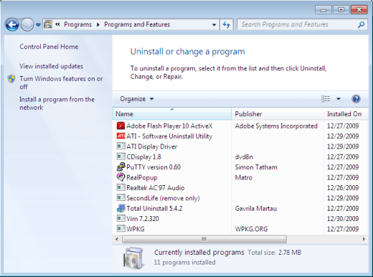 Uninstall unused programs.